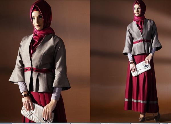 kapri kol mini bayan ceket modelleri En Güzel Tesettür Giyim Modelleri 13