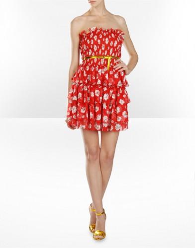 kirmizi beyaz cicekli straplez elbise modelleri ornekleri Yeni Sezon Dolce Gabbana Kreasyonu 32