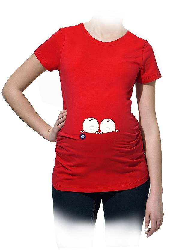 kirmizi yeni sezon 2012 kisa kollu hamile bluz modelleri1 Trend Farklı Hamile T-Shirt Modelleri 25