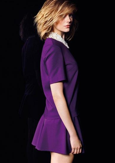 mor pileli en guzel trend mini kisa kolu elbise modelleri Rengarenk Yeni Sezon Koton Koleksiyonu 12