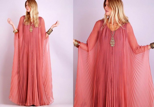 pembe uzun kollu farkli sifon elbise modelleri Yeni Sezon Yazlık Şifon Elbise Modelleri 2