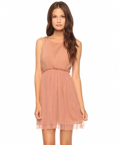 pudra rengi sifon mini elbiseler Yeni Sezon Yazlık Şifon Elbise Modelleri 3