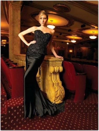 siyah abiye pullu uzun elbise modelleri Yazlık Trend Straplez Elbise Modelleri 8