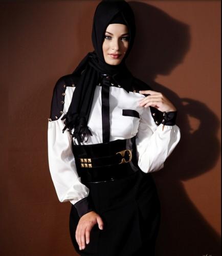 siyah beyaz bayan bluz modelleri En Güzel Tesettür Giyim Modelleri 18