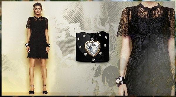 siyah dantel elbise ve tasli bileklik modelleri Yeni Sezon Dolce Gabbana Kreasyonu 35