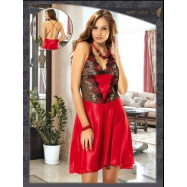 siyah deri suslemeli kirmizi saten gecelik modelleri Trend Kırmızı Fantazi Gecelik Modelleri 14