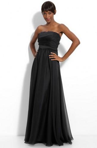 straplez siyah sifon elbise ornekleri Yeni Sezon Yazlık Şifon Elbise Modelleri 8
