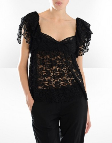 transparan siyah dantel kisa kollu bayan bluzlar Yeni Sezon Dolce Gabbana Kreasyonu 27