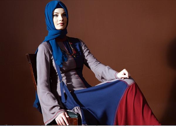 uzun kollu uzun bayan elbise modelleri En Güzel Tesettür Giyim Modelleri 19