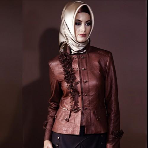 yeni sezon deri ceket ornekleri modelleri En Güzel Tesettür Giyim Modelleri 21