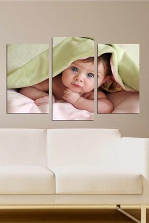 bebek resimli tablo cesitleri 3 Parçalı Ahşap Tablo Modelleri 6