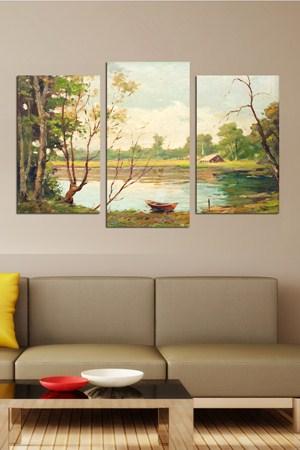 doga manzarali ahsap tablo cesitleri 3 Parçalı Ahşap Tablo Modelleri 8