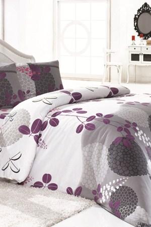 gri lila renkli cicek desenli uyku setleri En Güzel Tek Kişilik Uyku Seti Örnekleri 5
