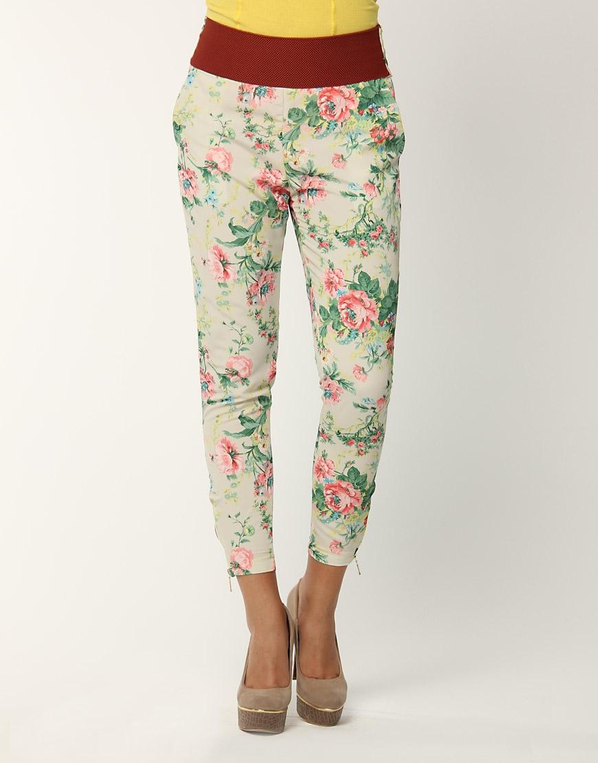 icek desenli beli lastikli dar paca pantolonlar Yeni Trend Farklı Bayan Pantolonları 7