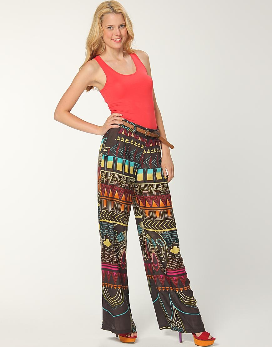 ilginc desenli yuksek bel penye pantolon modelleri Yeni Trend Farklı Bayan Pantolonları 8