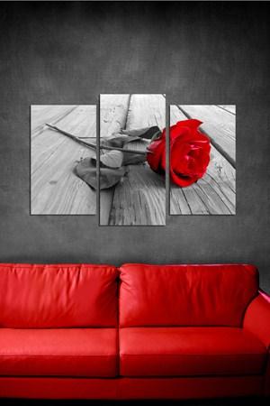 kirmizi gul resimli tablo ornekleri 3 Parçalı Ahşap Tablo Modelleri 17