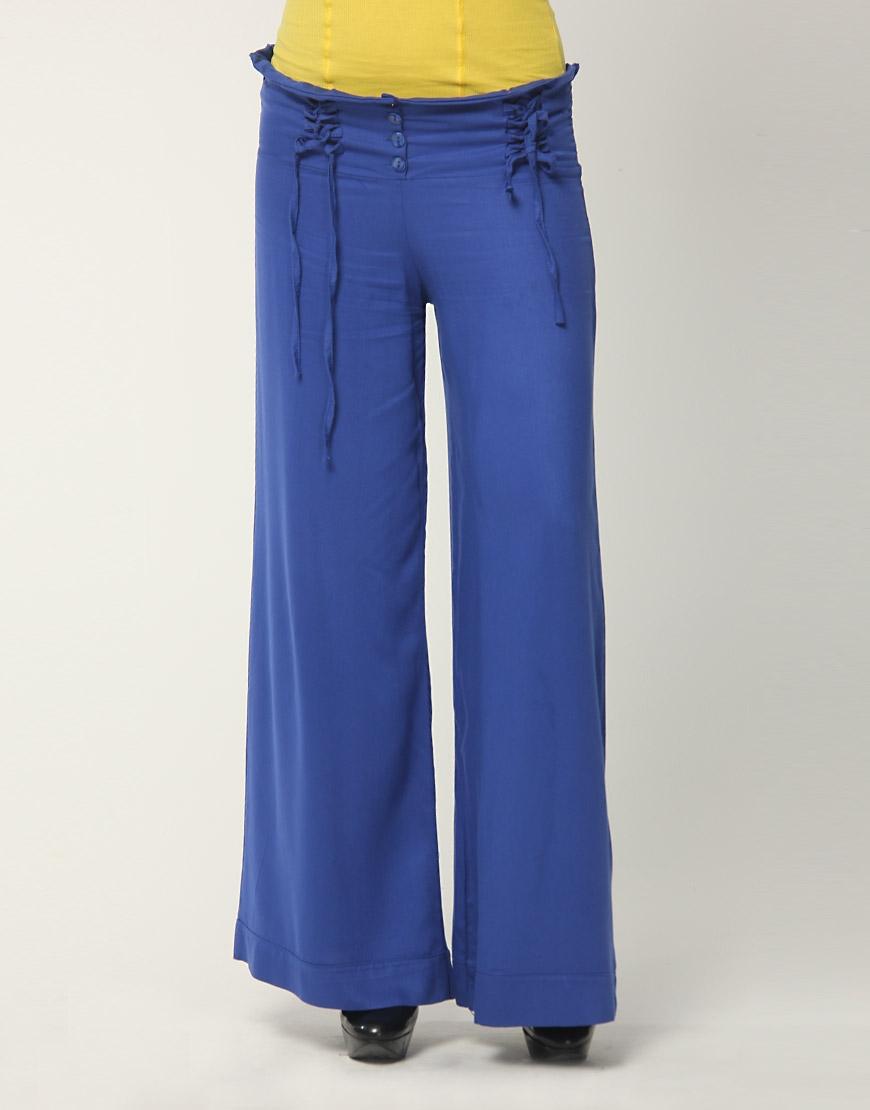 mavi genis yazlik bayan pantolonlari Yeni Trend Farklı Bayan Pantolonları 13
