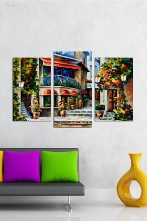 renkli modern tablo cesitleri 3 Parçalı Ahşap Tablo Modelleri 22