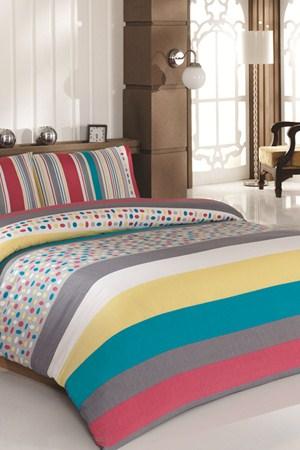 turkuaz rengi puantiyeli cizgili uyku seti ornekleri En Güzel Tek Kişilik Uyku Seti Örnekleri 17