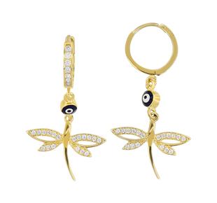 nazar boncuklu kelebek sekilli altin kupe modeli Trend Altın Küpe Çeşitleri 16