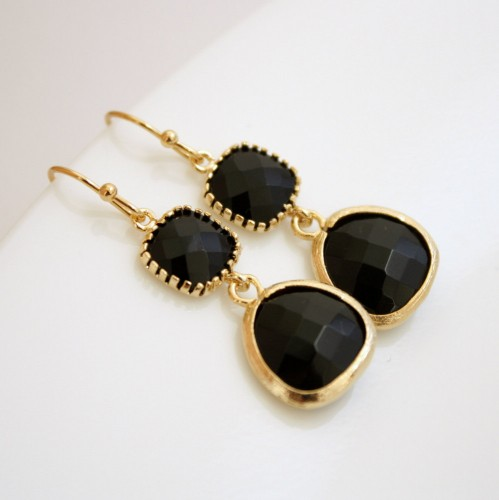 siyah tasli kupe modelleri Trend Altın Küpe Çeşitleri 18