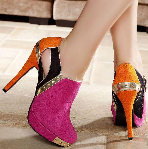 bilekte bot gorunumlu topuklu ayakkabi modelleri Renkli Platform Topuklu Ayakkabı Modelleri 1