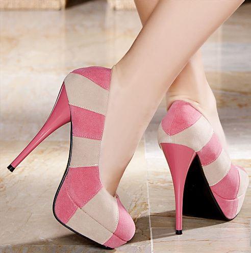 pembe krem rengi suet platform topuklu ayakkabilar Renkli Platform Topuklu Ayakkabı Modelleri 11