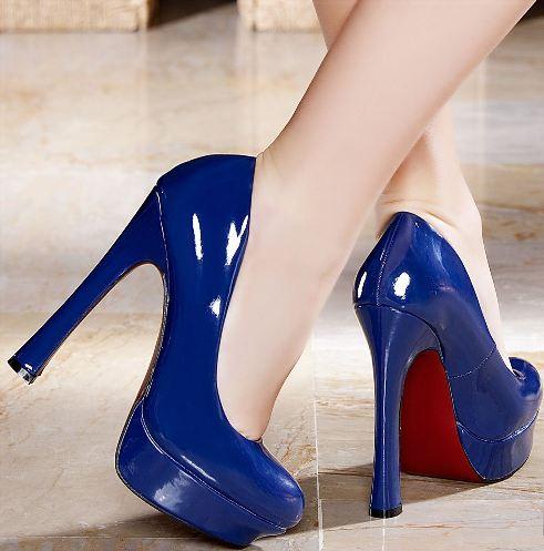 rugan mavi yuksek topuklu ayakkabi modelleri Renkli Platform Topuklu Ayakkabı Modelleri 14