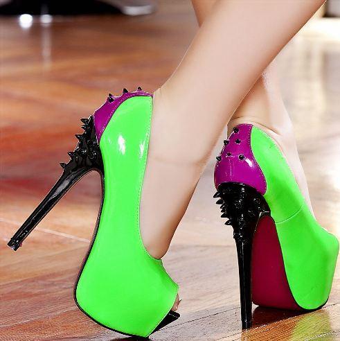 yesil rugan civi topuklu ayakkabi modelleri Renkli Platform Topuklu Ayakkabı Modelleri 20