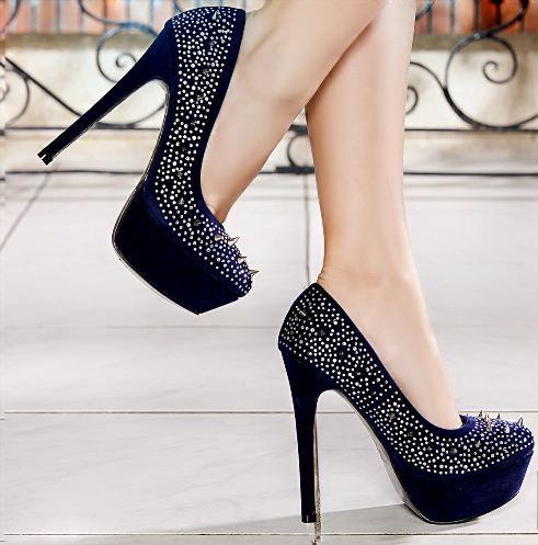 zimbali tasli lacivert topuklu ayakkabi modelleri Renkli Platform Topuklu Ayakkabı Modelleri 23