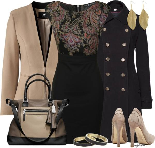 Desenli siyah elbise kombini Çok Şık Kışlık Kombinler 4