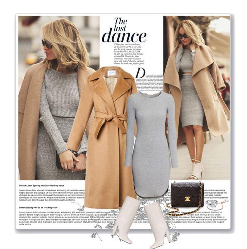 Gri elbise kaban kombini Çok Şık Kışlık Kombinler 9