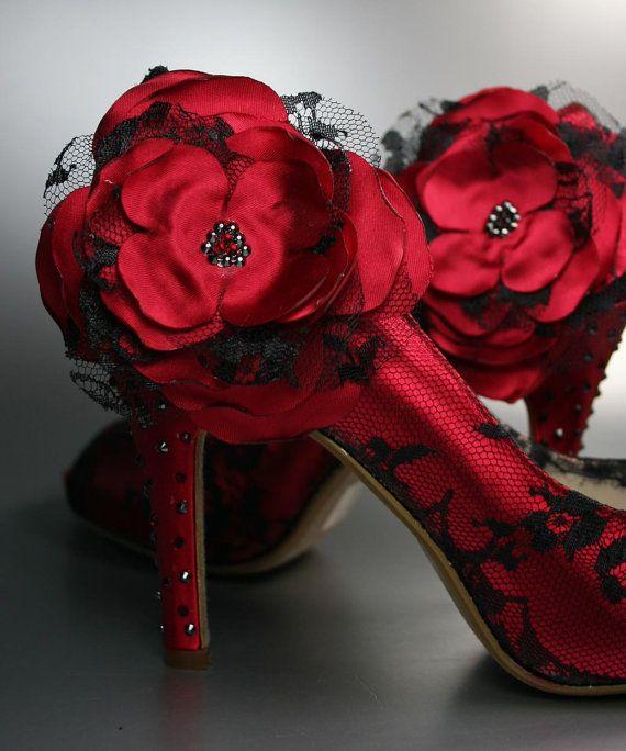 Siyah dantelli ayakkabi modeli Yılbaşı Ve Kırmızı! 19