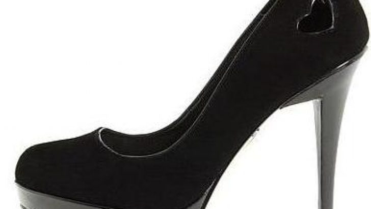 Siyah Süet Yüksek Platform Topuklu Ayakkabılar