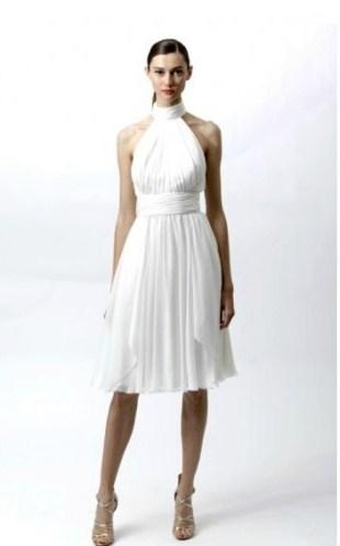boyundan bağlamalı beyaz dizde elbise modelleri