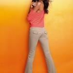 düşük bel krem rengi bol paça pantolonlar