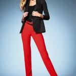 düz kırmızı kumaş pantolon örnekleri