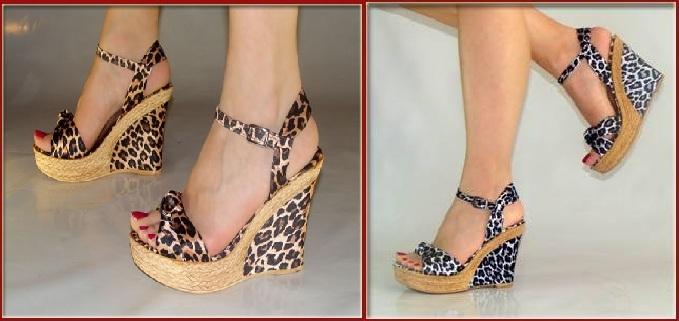 leopar desenli dolgu topuklu ayakkabı modelleri