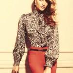 leopar desenli gömlek ve kiremit rengi bayan pantolonları