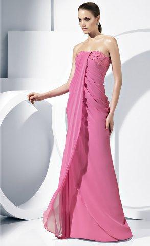 Nişan abiye elbise modelleri pembe straplez uzun abiye elbiseler