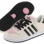 siyah çizgili pembe beyaz adidas spor ayakkabı