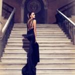 siyah arkası ipli adil ışık abiye elbise modelleri