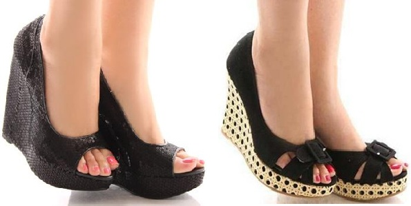 siyah dolgu topuk ayakkabı