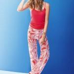 yaprak desenli renkli yazlık bayan pantolonları